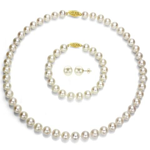 DaVonna 14k Yellow Gold Round White Akoya Pearl Jewelry Set (9-9.5mm)