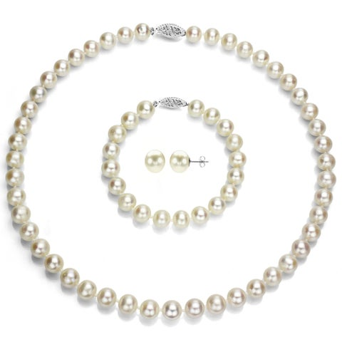 DaVonna 14k White Gold Round 9-9.5mm White Akoya Pearl Jewelry Set