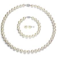 DaVonna 14k White Gold Round 7.5-8 mm White Akoya Pearl Jewelry Set