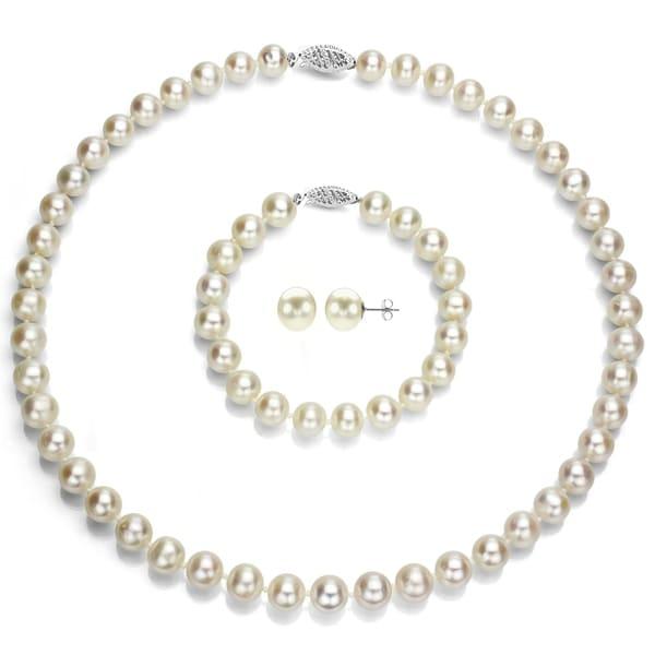 DaVonna 14k White Gold Round 8-8.5mm White Akoya Pearl Jewelry Set