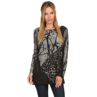 High Secret Women's Abstract Print Loose Fit Tunic Top
