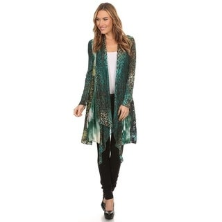 High Secret Women's Green Animal Print Patchwork Open Front Cardigan
