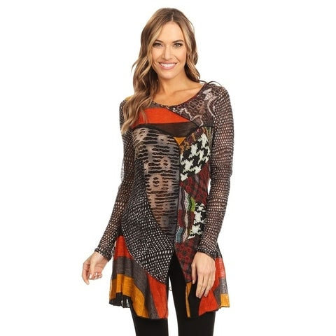 High Secret Women's Multicolor Patchwork Round Neck Tunic Top