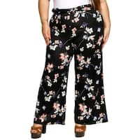 Xehar Womens Plus Size Casual Floral Wide Leg Palazzo Lounge Pants