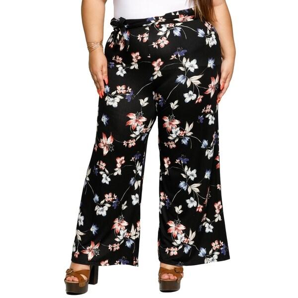 5a88b66c8c Shop Xehar Womens Plus Size Casual Floral Wide Leg Palazzo Lounge ...
