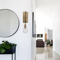 Krystallos 1-Light Antique Brass Wall Sconce, Designer Bulb Included