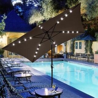 10'X6.5' Solar Cocoa Rectangular Outdoor Tilting Patio Umbrella