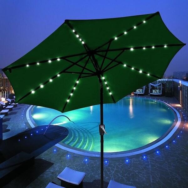 9 Foot Solar Green Round Outdoor Tilting Patio Umbrella