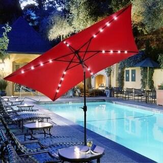 10'X6.5' Solar Red Rectangular Outdoor Tilting Patio Umbrella