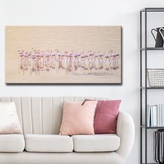 'Marching Pinks' Canvas Flamingo Wall Décor