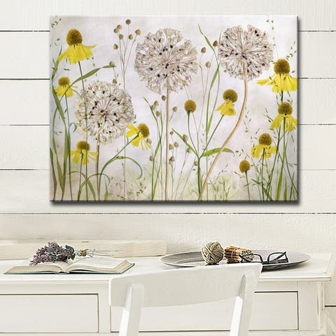 Alliums and Heleniums' Floral Wrapped Canvas Wall Art