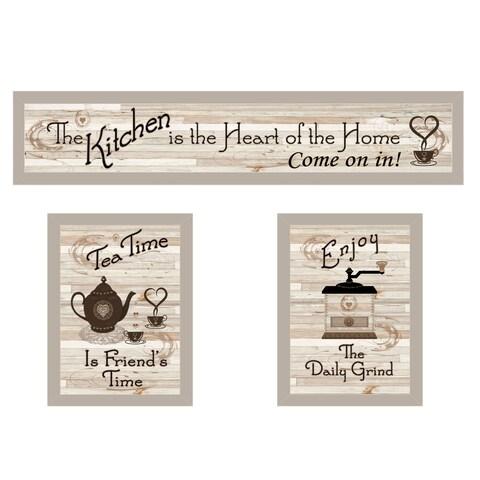 """""""Kitchen Friendship Collection III"""" 3-Piece Vignette, Sand Frame"""