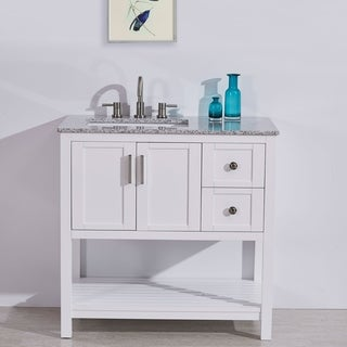 "Silkroad Exclusive 36"" Stone Top Bathroom Single Vanity White Cabinet (Off-Center Sink)"