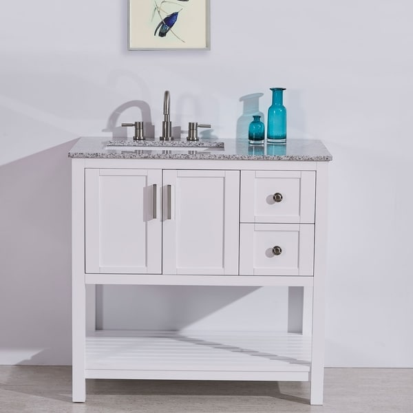 shop silkroad exclusive 36 stone top bathroom single vanity white cabinet off center sink. Black Bedroom Furniture Sets. Home Design Ideas
