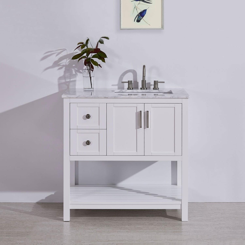 Silkroad Exclusive 36 Stone Top Bathroom Single Vanity White Cabinet Off Center Sink Overstock 21281733 Sesame White Granite Top W Left Sink Granite