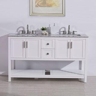 "Silkroad Exclusive 60"" Natural Stone Top Single Single Sink Bathroom Vanity White Cabinet"