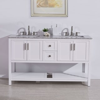 "Silkroad Exclusive 60"" Natural Stone Top Single Single Sink Bathroom Vanity White Cabinet"