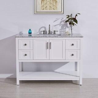 "Silkroad Exclusive 48"" Natural Stone Top Rectangular Sink Bathroom Single Vanity White Cabinet"