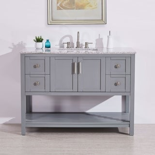"Silkroad Exclusive 48"" Natural Stone Top Rectangular Sink Bathroom Single Vanity Grey Cabinet"