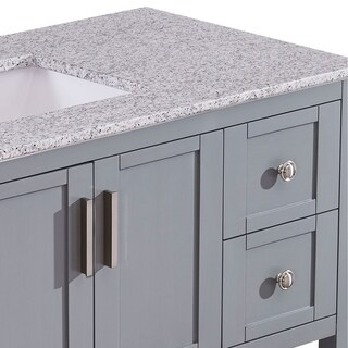 "Silkroad Exclusive 36"" Stone Top Bathroom Single Vanity Grey Cabinet (Off-Center Sink)"