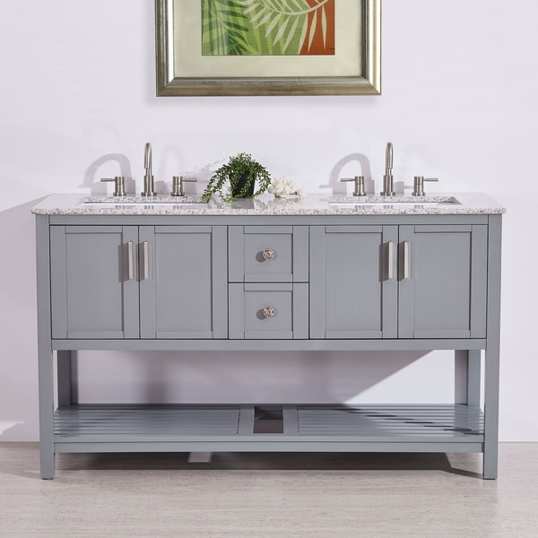 "Silkroad Exclusive 60"" Natural Stone Top Single Single Sink Bathroom Vanity Grey Cabinet"