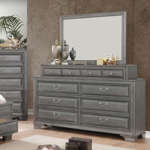 Oslo Traditional 2-piece Dresser and Mirror Set with Drawers by FOA