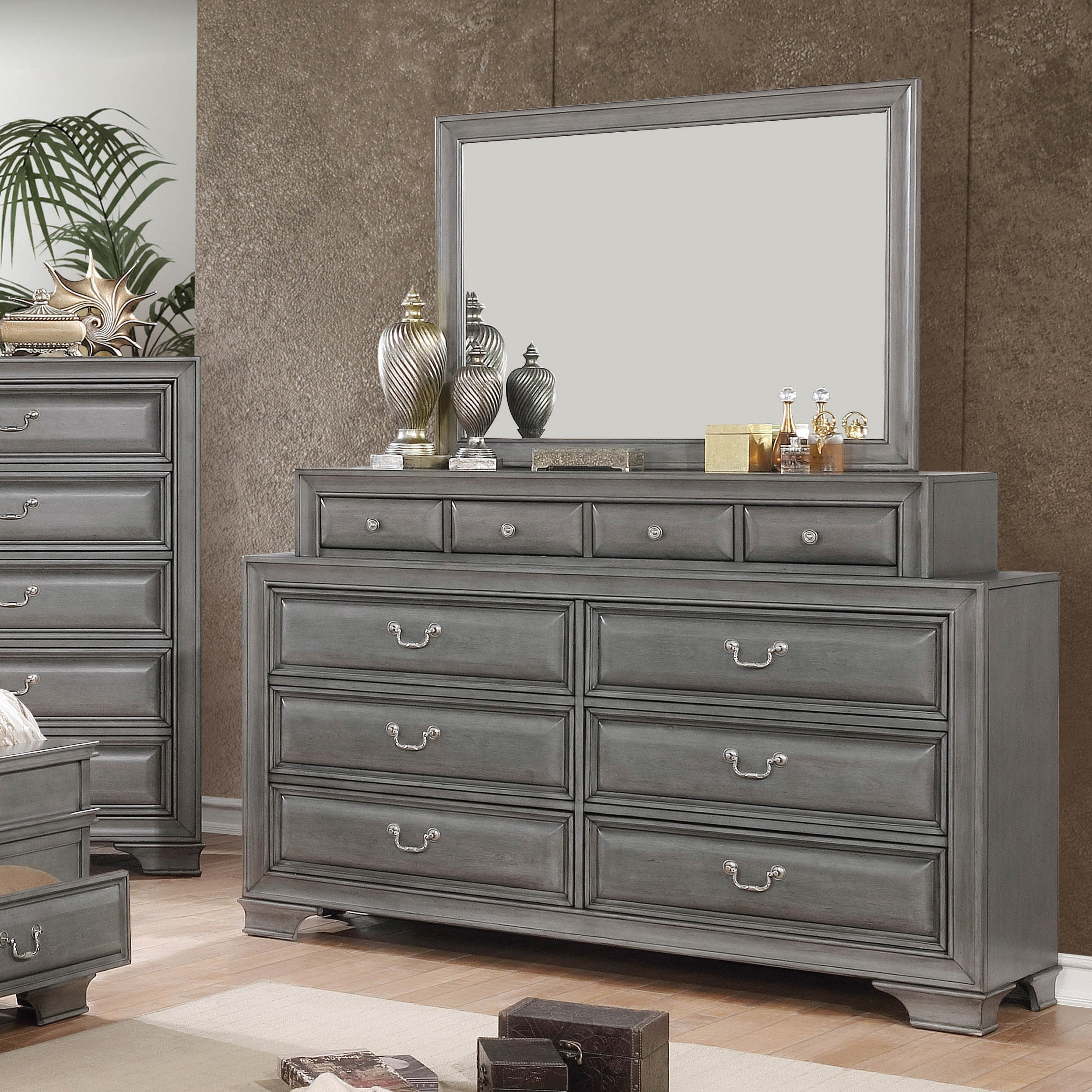 new style 62776 f1baf Oslo Traditional 2-piece Dresser and Mirror Set with Drawers by FOA