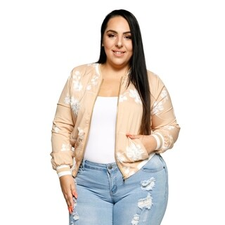 Xehar Womens Plus Size Zip Up Embroidered Floral Bomber Jacket