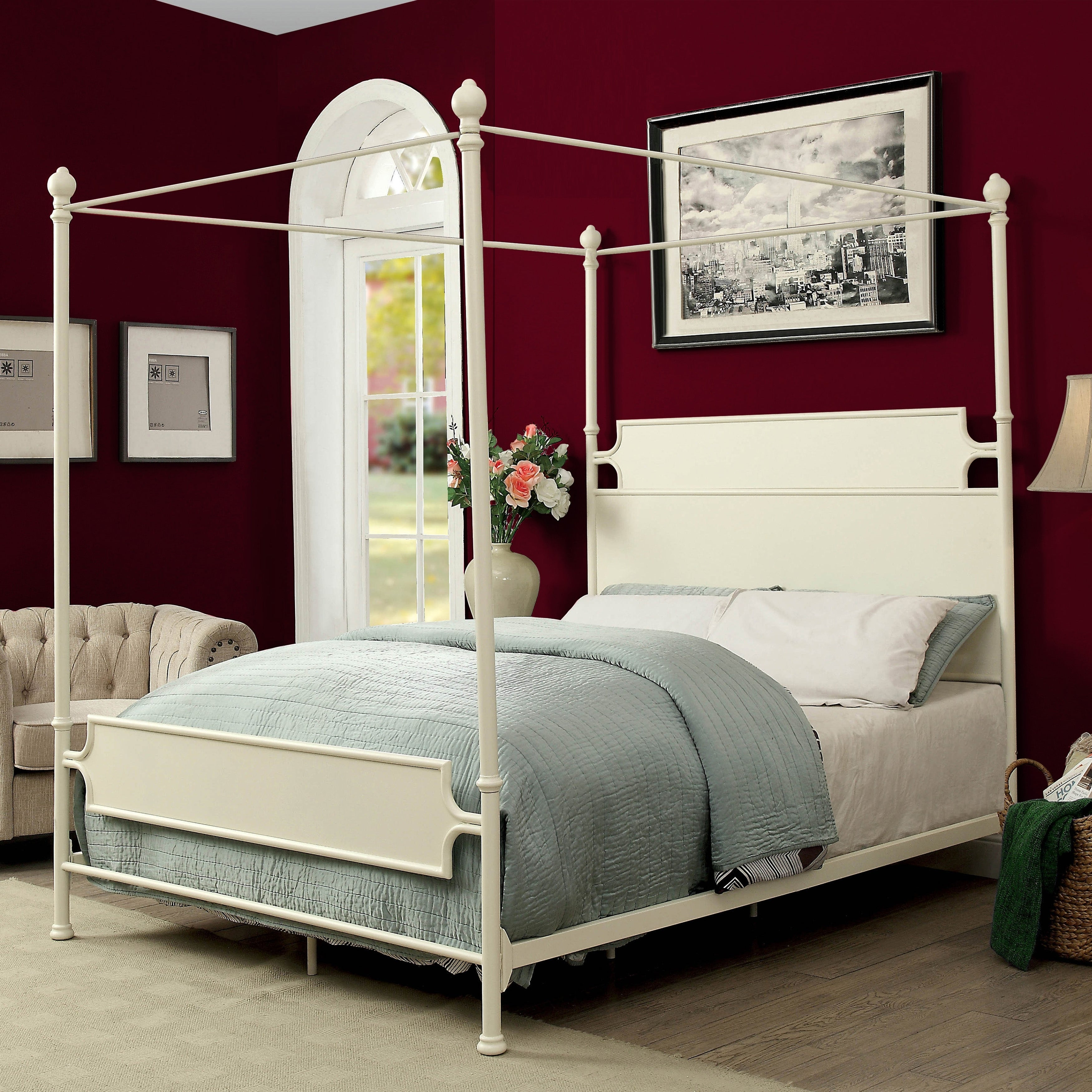 - Shop Furniture Of America Zury Industrial Metal Canopy Bed