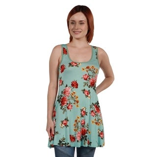 24Seven Comfort Apparel Ashlee Green Floral Tunic Top