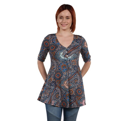 24Seven Comfort Apparel Stefanie Henley Style Tunic Top