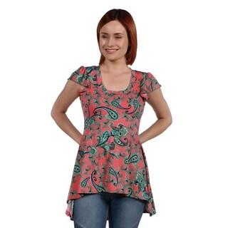 24Seven Comfort Apparel Scout Hi Lo Pink Print Tunic Top