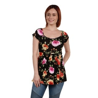 24Seven Comfort Apparel Floral Short Sleeve Tunic Top