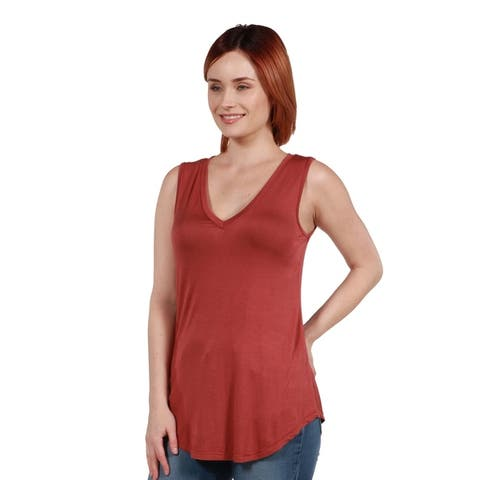 24seven Comfort Apparel Sleeveless Tunic Top