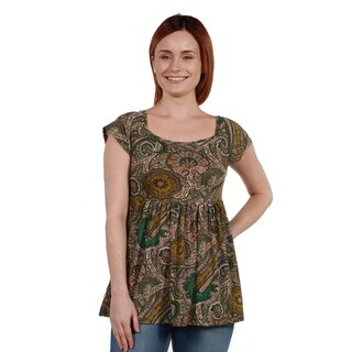 24Seven Comfort Apparel Paisley Short Sleeve Tunic Top