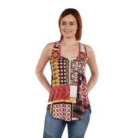 24Seven Comfort Apparel Red Sleeveless Tunic Top