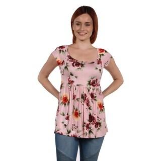 24Seven Comfort Apparel Marina Pink Floral Tunic Top