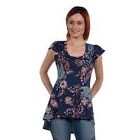 24Seven Comfort Apparel  Blue Print Hi Lo Tunic Top