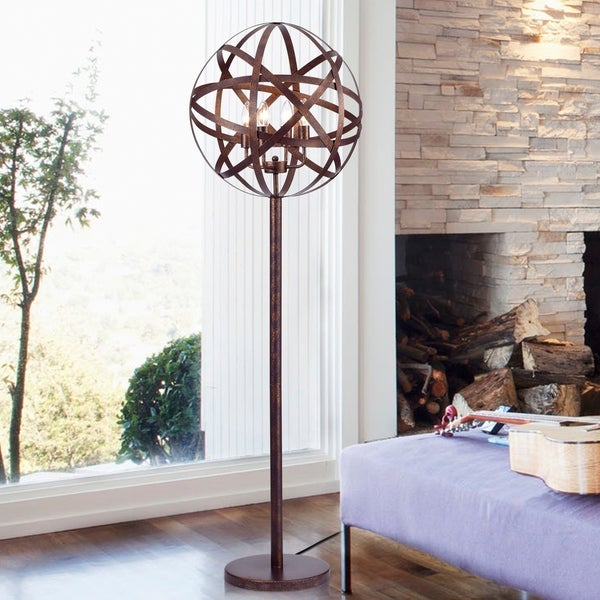 Globen Aged Bronze 50-Inch Floor Lamp with Strap Band Globe Shade