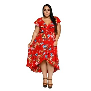 Xehar Womens Plus Size Sexy Floral Ruffle Midi Wrap Summer Dress (3 options available)