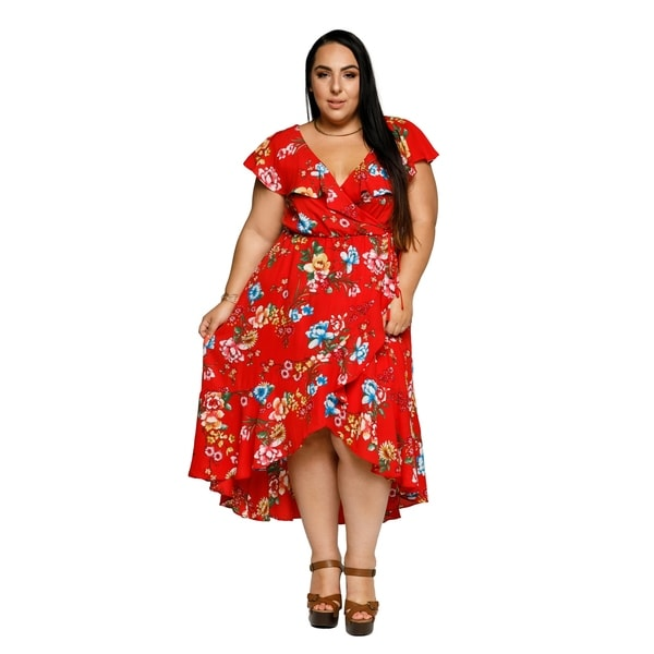 4b2497a2bf5 Shop Xehar Womens Plus Size Sexy Floral Ruffle Midi Wrap Summer ...