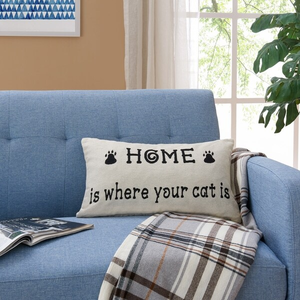 Decorative Toss Throw Cat Lover Cotton Accent Pillow by Danya B.