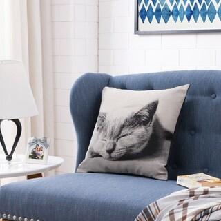 Sleeping Cat Cotton Decorative Toss Throw Accent Pillow by Danya B.