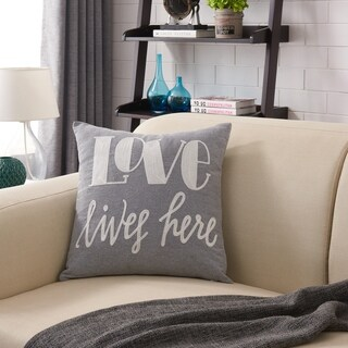 Love Lives Here Embroidered Decorative Throw Accent Pillow by Danya B.