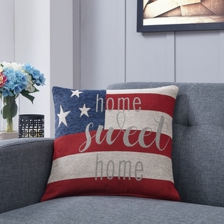 US Flag Home Sweet Home Decorative Throw Accent Pillow by Danya B.