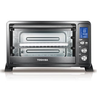 Toshiba AC25CEW-CHBS Digital Convection Toaster Oven, Black Stainless Steel