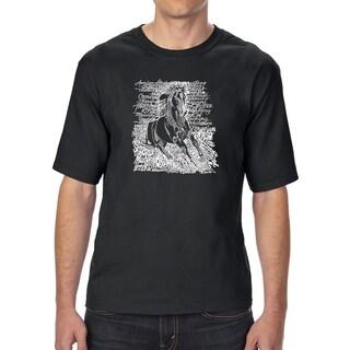 LA Pop Art Men's Tall Word Art T-shirt - POPULAR HORSE BREEDS