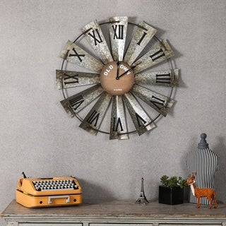 27.75in. Dia. Metal and Wood Wind Mill Wall Clock