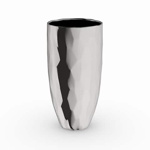 Silver Orchid Olivia Ceramic Silver Vase 4 inches wide, 8 inches high (Set of 2)