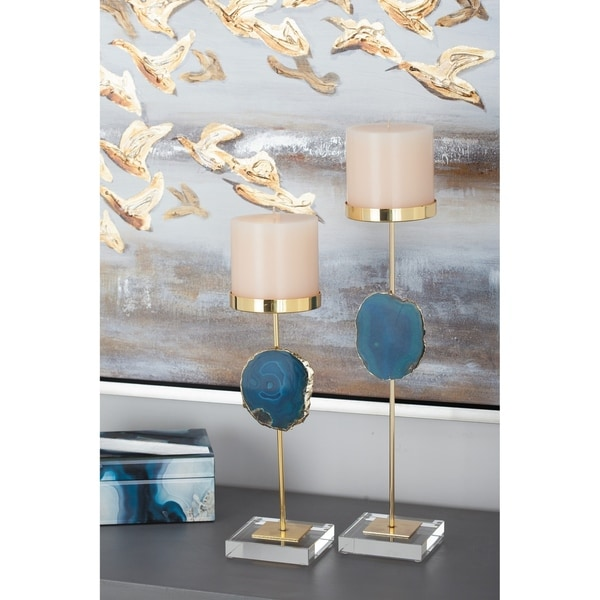 Silver Orchid Dunbar Gold-finish Blue Agate Candle Holder, 12 inches, 16 inches high (Set of 2)